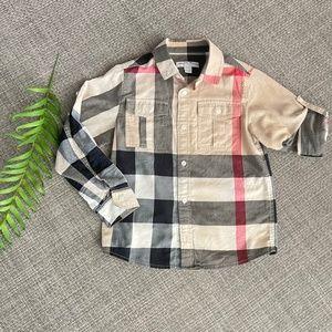 BURBERRY Check Print Woven Shirt little boy 6